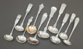 Silver Flatware, American:Coin Silver, A GROUP OF TEN AMERICAN COIN SILVER GRAVY AND CREAM LADLES. Variousmakers, early/mid 19th century. Marks: various marks. 8-... (Total:10 Items)