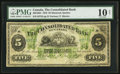 Canadian Currency: , Montreal, PQ- The Consolidated Bank of Canada $5 July 1, 1876 Ch. #205-10-04. ...