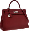 Luxury Accessories:Bags, Hermes 35cm Rouge H Clemence Leather Retourne Kelly Bag with Palladium Hardware. ...