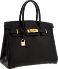 Luxury Accessories:Bags, Hermes 30cm Black Calf Box Leather Birkin Bag with Gold Hardware....