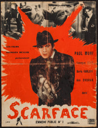 "Scarface (Georges Muller, R-1950). French Petite (18"" X 23.5""). Crime"