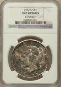 Peace Dollars, 1922-S $1 -- Stained -- NGC Details. UNC. NGC Census: (46/4678).PCGS Population (49/5730). Mintage: 17,475,000. Numismedia...