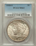 Peace Dollars: , 1928-S $1 MS61 PCGS. PCGS Population (180/4756). NGC Census:(276/3312). Mintage: 1,632,000. Numismedia Wsl. Price for prob...