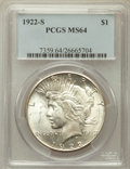 Peace Dollars: , 1922-S $1 MS64 PCGS. PCGS Population (1839/308). NGC Census:(1773/280). Mintage: 17,475,000. Numismedia Wsl. Price for pro...