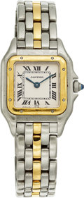 Estate Jewelry:Other , A CARTIER LADY'S GOLD AND STAINLESS STEEL PANTHER WRISTWATCH. Thequartz watch is crafted in stainless steel and 18k gold, S...