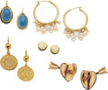 Estate Jewelry:Earrings, A GROUP OF MULTI-STONE, GOLD EARRINGS. The lot includes a pair ofruby and 14k gold earrings designed as hearts pierced with...(Total: 5 Items)