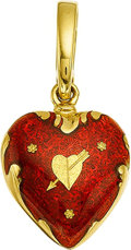 Estate Jewelry:Lockets - Pendants , AN ENAMEL, GOLD PENDANT, FABERGÉ. The 18k gold pendant is enhancedby red enamel, marked Fabergé, Germany, #. 257/500. Gross...