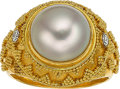 Jewelry, A MABÉ PEARL, DIAMOND, GOLD RING. The ring features a mabé pearl measuring 11.00 mm, enhanced by full-cut diamonds weighing ...