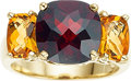 Jewelry, A GARNET, CITRINE, GOLD RING. The ring features a checkerboard-cut cushion-shaped garnet measuring 10.00 x 10.00 mm, enhance...