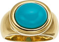 Estate Jewelry:Rings, A TURQUOISE, GOLD RING. The ring features a bezel-set turquoisecabochon measuring 12.00 x 10.00 mm, set in 18k gold. Gross ...