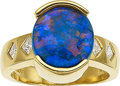 Estate Jewelry:Rings, A BLACK OPAL, DIAMOND, GOLD RING. The ring features a black opalcabochon measuring approximately 11.50 x 10.70 x 4.95 mm, e...