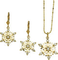 Jewelry, A SUITE OF DIAMOND, GOLD JEWELRY. The 'Snowflake' suite includes a pendant and matching earrings featuring full-cut diamonds... (Total: 2 Items)