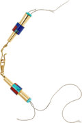 Estate Jewelry:Other , A MULTI-STONE, GOLD CLASP. The 14k gold clasp features inlaidturquoise, coral and lapis lazuli, marked VAB. Gross weight 21...