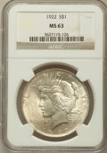 Peace Dollars: , 1922 $1 MS63 NGC. NGC Census: (68463/95795). PCGS Population(53330/47852). Mintage: 51,737,000. Numismedia Wsl. Price for ...