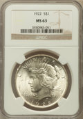 Peace Dollars: , 1922 $1 MS63 NGC. NGC Census: (68277/95719). PCGS Population(53330/47852). Mintage: 51,737,000. Numismedia Wsl. Price for ...