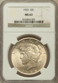 Peace Dollars: , 1925 $1 MS63 NGC. NGC Census: (10436/32945). PCGS Population(10383/25554). Mintage: 10,198,000. Numismedia Wsl. Price for ...