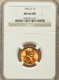 Lincoln Cents: , 1956-D 1C MS66 Red NGC. NGC Census: (1974/97). PCGS Population(1352/33). Mintage: 1,098,201,088. Numismedia Wsl. Price for...