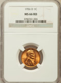 Lincoln Cents: , 1956-D 1C MS66 Red NGC. NGC Census: (2111/91). PCGS Population(1352/33). Mintage: 1,098,201,088. Numismedia Wsl. Price for...