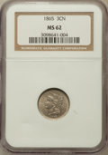 Three Cent Nickels: , 1865 3CN MS62 NGC. NGC Census: (300/1087). PCGS Population(262/1177). Mintage: 11,382,000. Numismedia Wsl. Price for probl...
