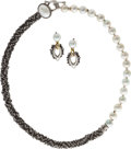 Jewelry, A SUITE OF CULTURED PEARL, SILVER JEWELRY, MICHAEL DAWKINS. The suite includes a necklace and pair of earrings featuring gra...