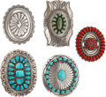 "Estate Jewelry:Other , FIVE TURQUOISE, CORAL, SILVER BELT BUCKLES. The lot includes fivebuckles: one with turquoise, marked J&E Wilson (3-3/8""x..."