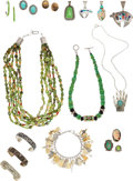 Estate Jewelry:Lots, A GROUP OF MULTI-STONE, SILVER JEWELRY. The lot consists ofseventeen pieces, including necklaces, pendants, earrings, rings...(Total: 17 Items)