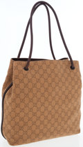 Luxury Accessories:Bags, Gucci Light Brown Monogram Canvas Shoulder Bag with Leather Handles. ...