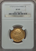 Colombia, Colombia: Carlos III gold 2 Escudos 1772 P-JS,...