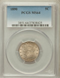 Liberty Nickels: , 1890 5C MS64 PCGS. PCGS Population (154/61). NGC Census: (121/59).Mintage: 16,259,272. Numismedia Wsl. Price for problem f...