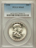 Franklin Half Dollars: , 1958 50C MS65 PCGS. PCGS Population (2595/1547). NGC Census:(2103/981). Mintage: 4,000,000. Numismedia Wsl. Price for prob...