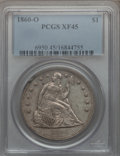 Seated Dollars: , 1860-O $1 XF45 PCGS. PCGS Population (84/976). NGC Census:(44/652). Mintage: 515,000. Numismedia Wsl. Price for problem fr...