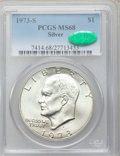 Eisenhower Dollars: , 1973-S $1 Silver MS68 PCGS. CAC. PCGS Population (822/3). NGC Census: (142/1). Mintage: 869,400. Numismedia Wsl. Price for ...