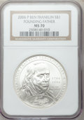 Modern Issues, 2006-P $1 Ben Franklin, Founding Father MS70 NGC. NGC Census:(6666). PCGS Population (671). Numismedia Wsl. Price for pro...
