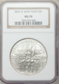 Modern Issues: , 2002-W $1 West Point Silver Dollar MS70 NGC. NGC Census: (2401).PCGS Population (1012). Numismedia Wsl. Price for problem...