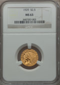 Indian Quarter Eagles: , 1929 $2 1/2 MS63 NGC. NGC Census: (5674/2980). PCGS Population(3727/1744). Mintage: 532,000. Numismedia Wsl. Price for pro...