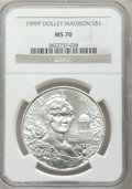 Modern Issues: , 1999-P $1 Dolley Madison Silver Dollar MS70 NGC. NGC Census: (920).PCGS Population (384). Numismedia Wsl. Price for probl...