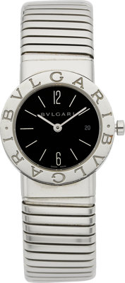 "Bvlgari Lady's Stainless Steel ""Tubogas"" Wristwatch"