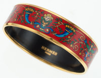 Hermes Medium Red Enamel Bangle with Blue and Green Design