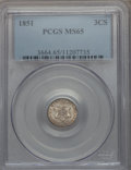 Three Cent Silver: , 1851 3CS MS65 PCGS. PCGS Population (176/123). NGC Census: (180/79). Mintage: 5,447,400. Numismedia Wsl. Price for problem ...
