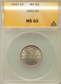 1893 5C MS63 ANACS. NGC Census: (91/276). PCGS Population (142/311). Mintage: 13,370,195. Numismedia Wsl. Price for prob...
