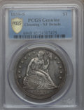 Seated Dollars, 1859-S $1 -- Cleaning -- PCGS Genuine. XF Details....