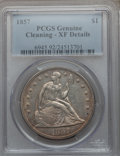 Seated Dollars, 1857 $1 -- Cleaned -- PCGS Genuine. XF Details. NGC Census: (1/70).PCGS Population (8/106). Mintage: 94,000. Numismedia Ws...