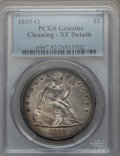Seated Dollars, 1859-O $1 -- Cleaned -- PCGS Genuine. XF Details. NGC Census:(18/479). PCGS Population (43/677). Mintage: 360,000. Numisme...