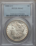 Morgan Dollars: , 1880-CC $1 MS62 PCGS. PCGS Population (1095/10594). NGC Census: (898/7023). Mintage: 591,000. Numismedia Wsl. Price for pro...