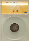 Bust Dimes: , 1833 10C XF45 ANACS. NGC Census: (12/254). PCGS Population(49/227). Mintage: 485,000. Numismedia Wsl. Price for problem fr...