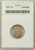 Liberty Nickels: , 1910 5C AU55 ANACS. NGC Census: (8/572). PCGS Population (17/676).Mintage: 30,169,352. Numismedia Wsl. Price for problem f...