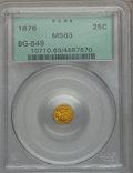 California Fractional Gold: , 1876 25C Indian Round 25 Cents, BG-849, High R.5, MS63 PCGS. PCGSPopulation (13/6). NGC Census: (0/5). ...