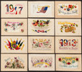 Non-Sport Cards:Sets, 1910's Embossed and Needle Point European Post Card Collection(12). ...