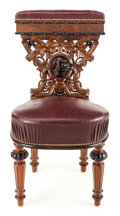 Furniture , A VICTORIAN OAK AND WALNUT PRIE DIEU. Circa 1900. 32-3/8 inches high (82.2 cm). ...