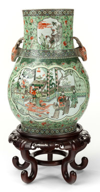 A MONUMENTAL JAPANESE PORCELAIN VASE ON STAND 19th century Marks to underside: (script) 31 inches high (78